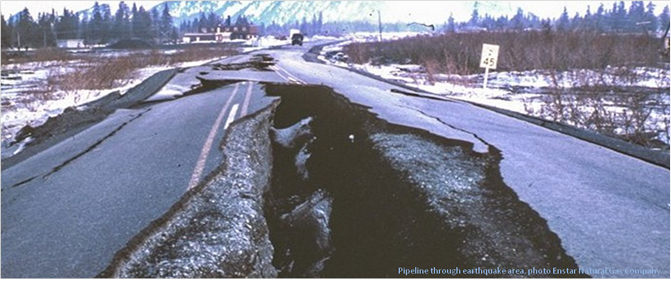 Pipeline through earthquake